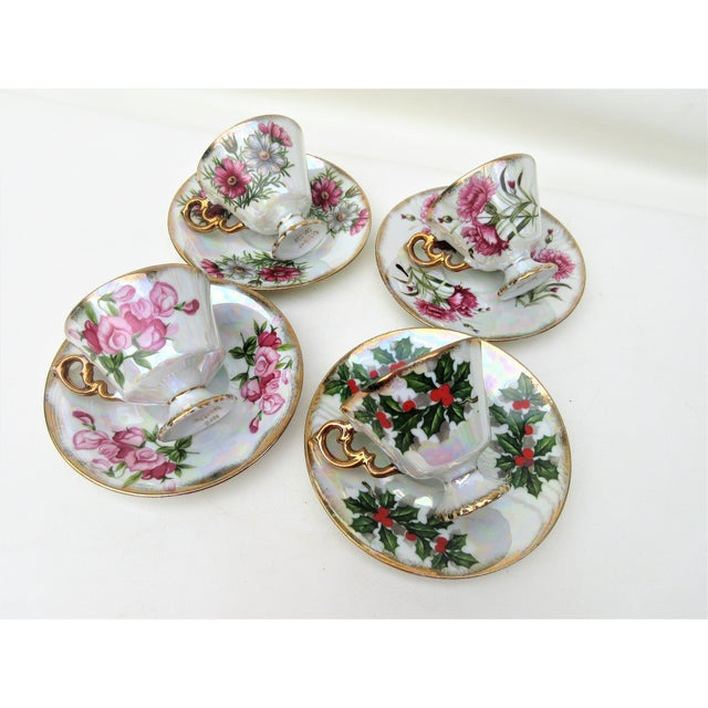 1960s Japanese Lusterware Flower of the Month Demitasse Cups and Saucers - Set of 4 For Sale - Image 10 of 12
