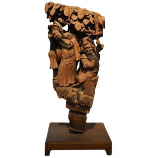 Antique Hand-Carved Wood Temple Corbel with Detailed Figures, 19th Century China For Sale