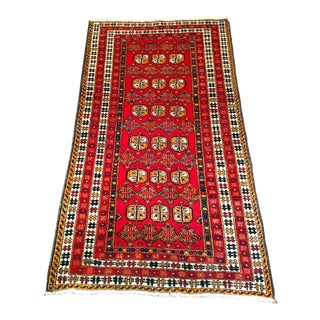1950s Traditional Turkmen Red Wool Tribal Rug For Sale