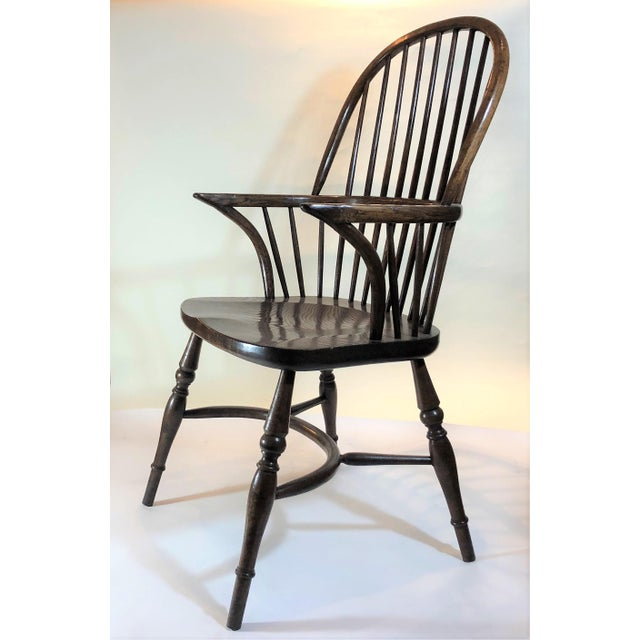 """Pair English Oak Windsor Armchairs. Seat Height is 18 1/2"""""""