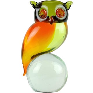 Murano Sommerso Orange Yellow Green Italian Uranium Art Glass Owl Bird Sculpture For Sale