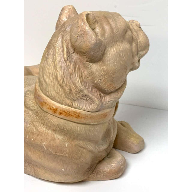 Late 19th Century Antique English Terracotta Recumbent Pug Dog For Sale - Image 9 of 10