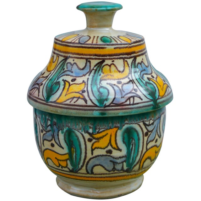 Antique handcrafted ceramic box featuring an elaborate hand-painted Moorish pattern in a traditional Andalusian color...