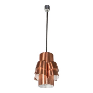 Stunning Segmented Sculptural Pendant Lamp in Copper by Hans-Agne Jakobsson For Sale