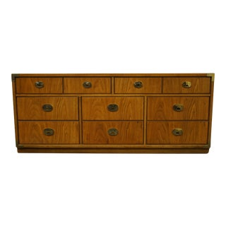 "Campaign Thomasville Furniture Oak Style 70"" Triple Dresser For Sale"