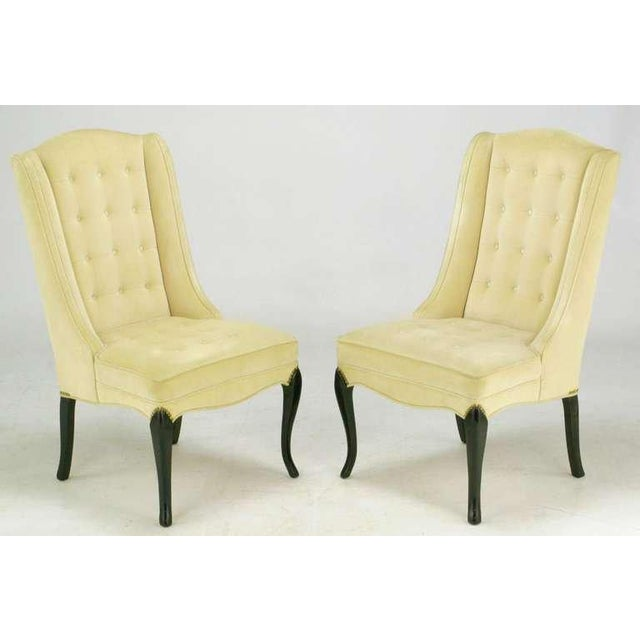 1940s Pair 1940s Creamy Velvet Button-Tufted Slipper Chairs For Sale - Image 5 of 10