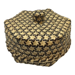 Antique Covered Lidded Basket Box Circa 1890s For Sale