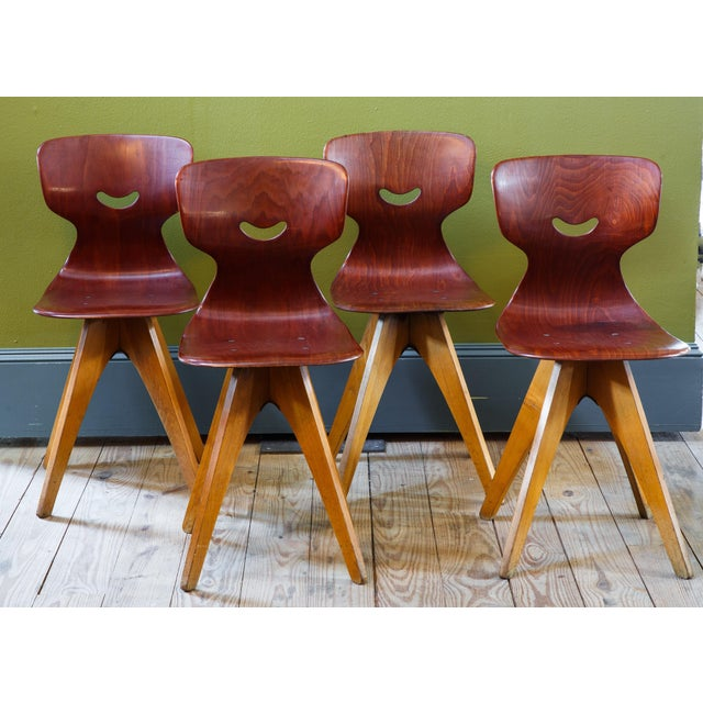 1960s Set Four German Mid Century Modern Plywood Chairs Designed by Adam Stegner for Pagholz For Sale - Image 5 of 5