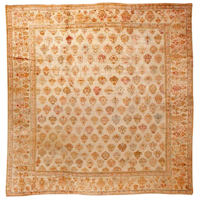 Antique 19th Century Turkish Angora Oushak Carpet For Sale