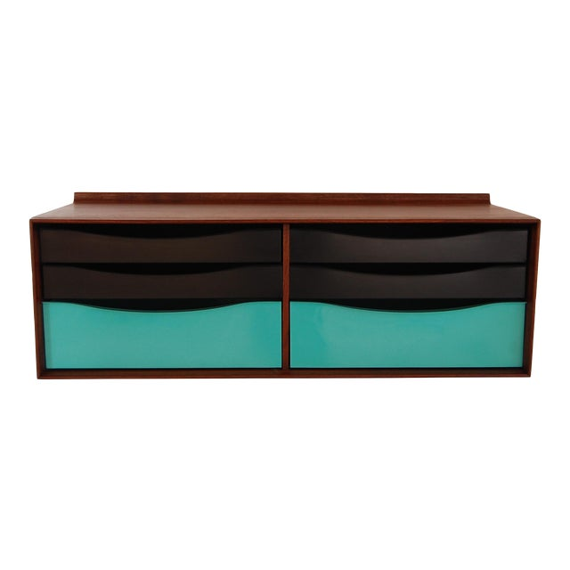 Vintage Mid Century Modernist Walnut and Metal Wall Hanging Cabinet For Sale