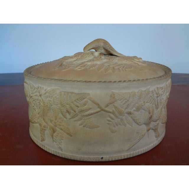 Gorgeous 19th century French Napoleon III Caneware game pie dish or tureen with lid and original liner adorned with fowl....
