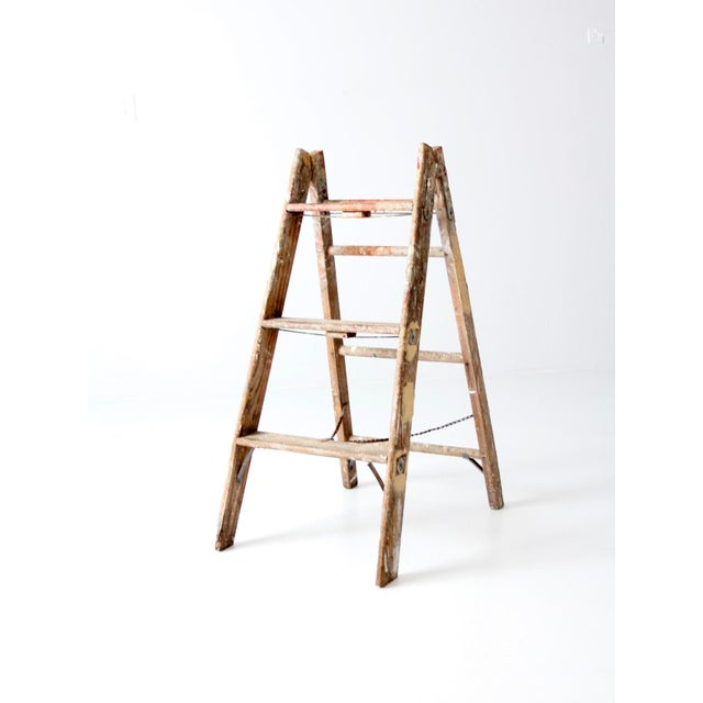 Vintage Wooden Folding Ladder For Sale - Image 4 of 11