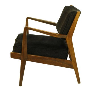 Jens Risom Teak Wood Arm Chair in Black Striped Chenille For Sale