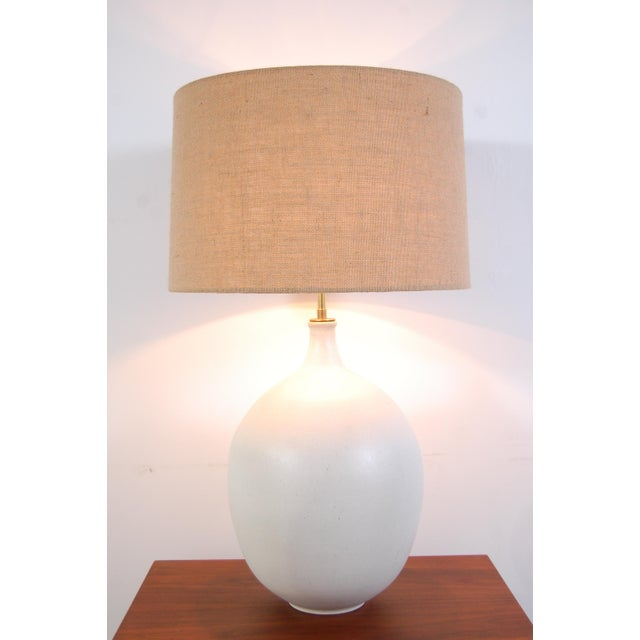 Design Technics pottery lamp, by Lee Rosen, circa 1966. Lamp body has a wonderful, bulbous form, with a magnesium white...
