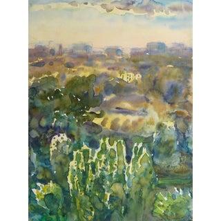 Watercolor Landscape - Kiev at Dusk For Sale