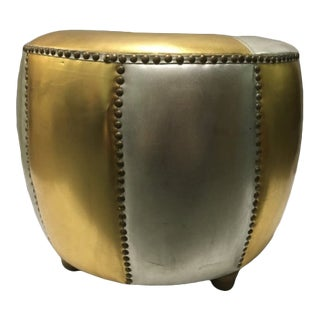 Gold & Silver Upholstered Leather Ottoman For Sale