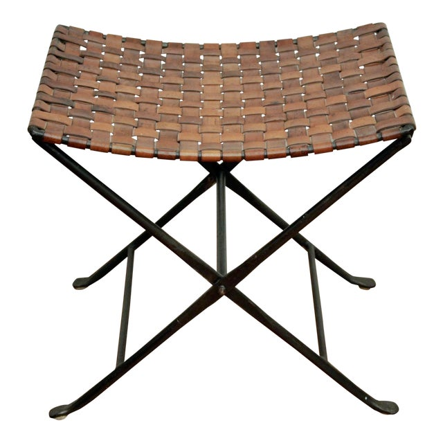 Enjoyable Leather And Iron Folding X Base Ottoman Stool Beatyapartments Chair Design Images Beatyapartmentscom