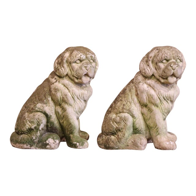 French Vintage Patinated Cast Stone Saint Bernard Dogs Sculptures - a Pair For Sale