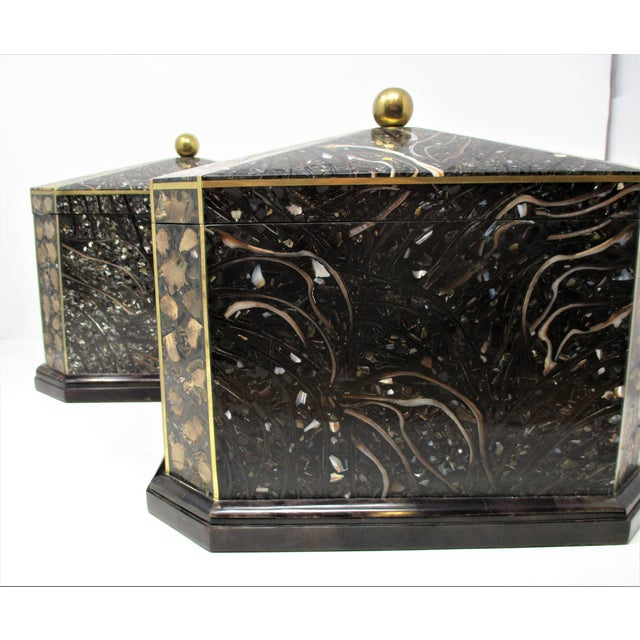 Art Deco Maitland-Smith Inlaid Stone With Brass Accents Boxe For Sale - Image 3 of 11