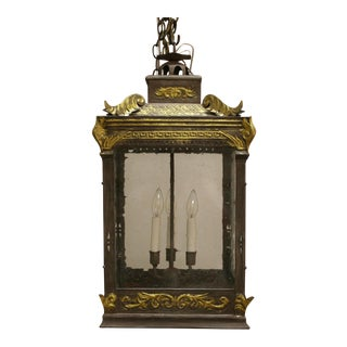 Curry & Co. Rustic European Tole Lantern For Sale
