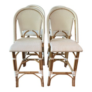 White Riviera Barstools by Serena & Lily For Sale