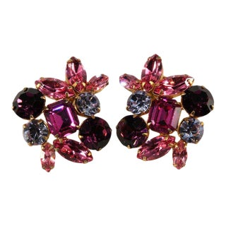 Purple and Pink Large Rhinestone Earrings Vintage For Sale