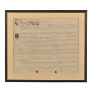 1800s Large English Indenture Document For Sale
