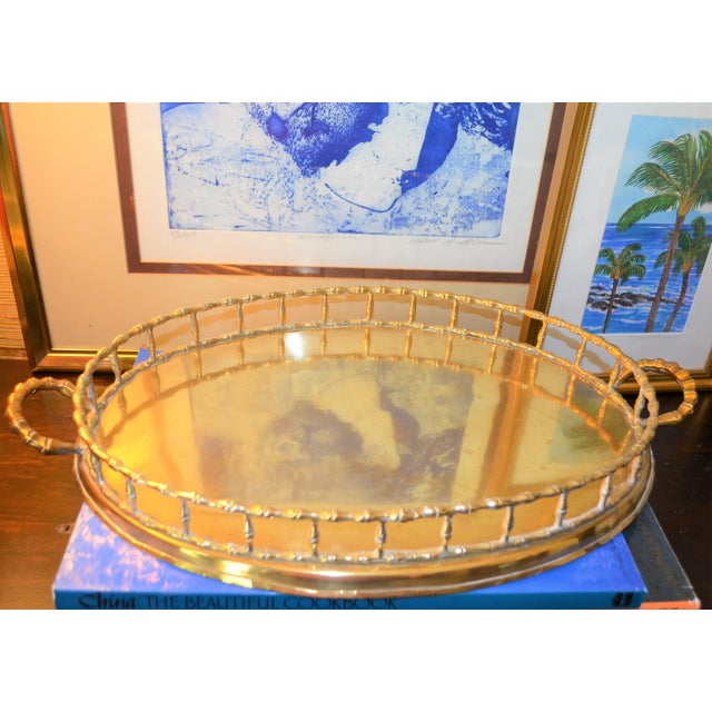 Hollywood Regency Brass Bamboo Tray - Image 5 of 6