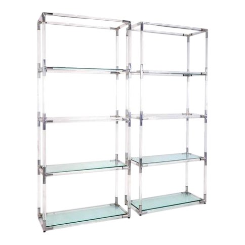 Pair Charles Hollis Jones Style Lucite and Chrome Shelves or Etagere For Sale