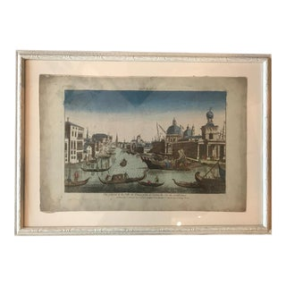 18th Century Vue D'Optique Hand-Colored Engraving of the Grand Canal, Venice For Sale