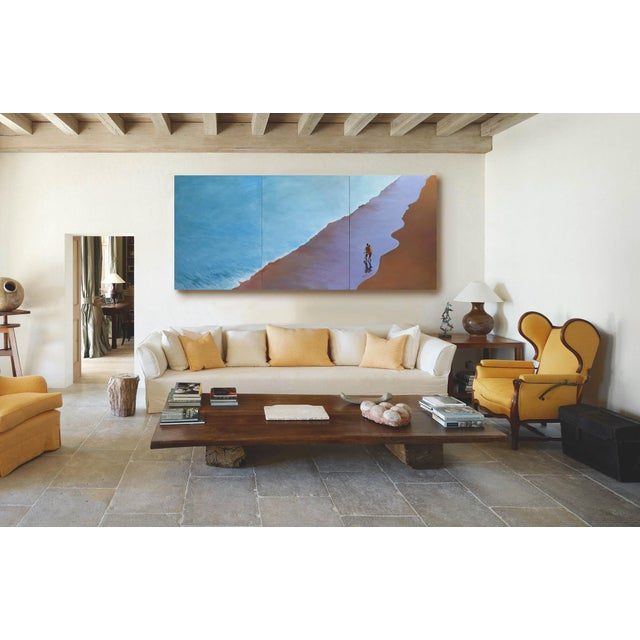 """Canvas """"Summer Wave"""" Large Geoff Greene Painting in 3 Sections (Ready for Display) For Sale - Image 7 of 10"""