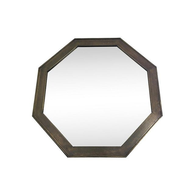 Stunning brass octagonal wall mirror with a bronze patinated finish by John Widdicomb and retailed through John Stuart,...
