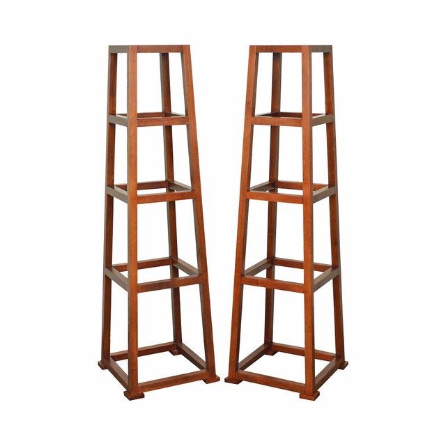 Custom Crafted Oak Obelisk Tall Pedestal Stands (Illegibly Signed Maker) For Sale - Image 13 of 13