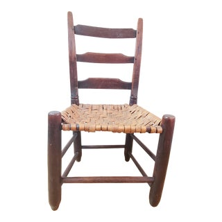 Antique Child's Ladder Back Chair With Woven Hickory Seat For Sale