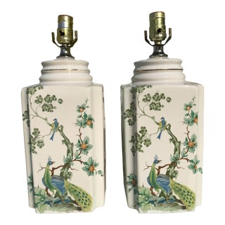 Vintage Chinoiserie Hand Painted Peacock Lamps - a Pair