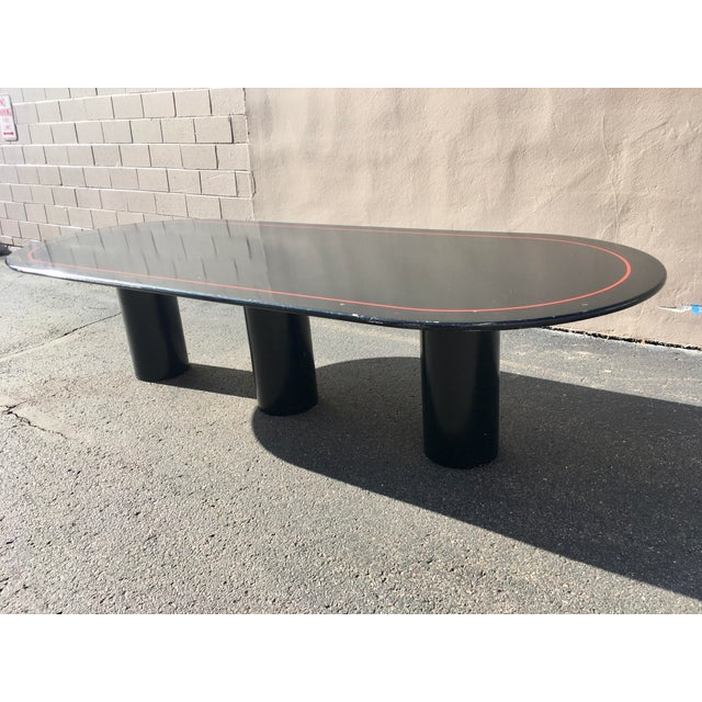 Metal Mid-Century Modern Black Lacquered Elliptical Dining Table Manner of Knoll For Sale - Image 7 of 13