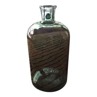 1800's Antique Green Opalescent Demi-John Liquor Glass Bottle For Sale