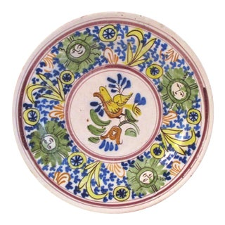 Vintage Yellow White and Blue Spanish Pottery Hand-Painted Bird & Sun Platter For Sale