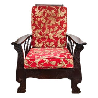 Antique Victorian Carved Mahogany Reclining Morris Chair For Sale