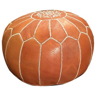 Moroccan Leather Light Tan Pouf by Mpw Plaza (Unstuffed) Preview