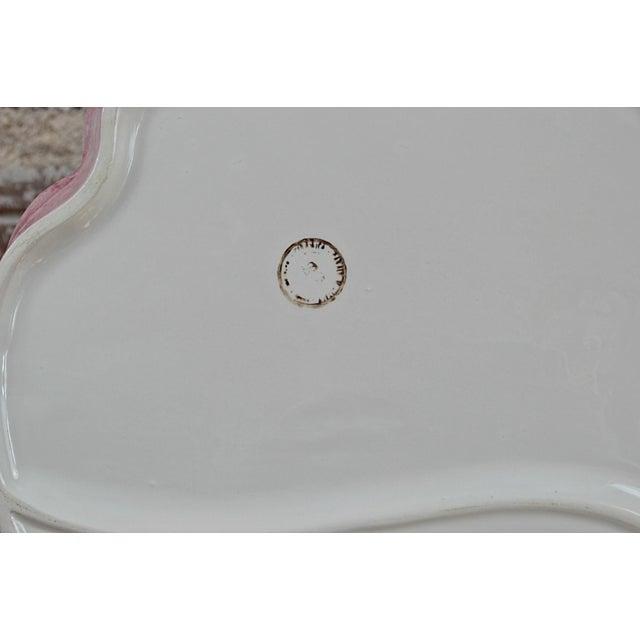 Clay Italian Majolica Flower Platter For Sale - Image 7 of 7