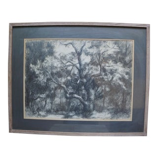 """Mid-Century Modern Black and White Pencil Drawing Titled """"Trees"""" by Stevan Kissel For Sale"""