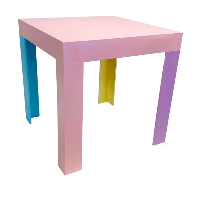 Memphis Inspired Pastel Parson Style Side Table For Sale - Image 10 of 10