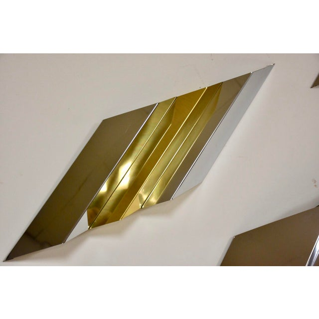 Mid-Century Modern Modern Chrome and Brass Wall Art For Sale - Image 3 of 9