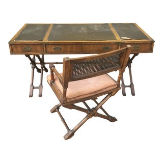 Vintage Campaign Brandt Furniture Faux Bamboo Desk and Chair Set - 2 Pieces For Sale