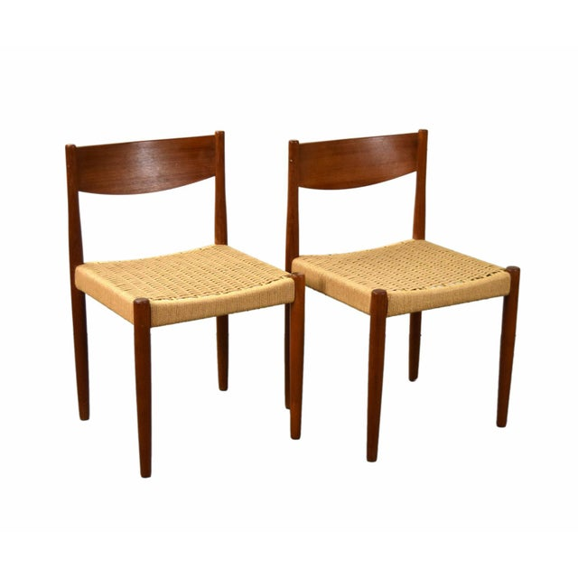 Vintage Poul Volther for Frem Rojle Cord Dining Chairs - A Pair For Sale - Image 9 of 9