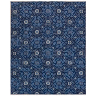 Modern Design Handmade Blue Rug - 8' X 10' For Sale