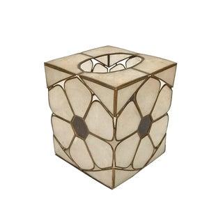 Mid Century Modern Capiz Shell & Brass Tissue Box Cover Cube Tissue Holder For Sale