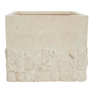 1990s Large Postmodern Tessellated White Stone Square Planter For Sale