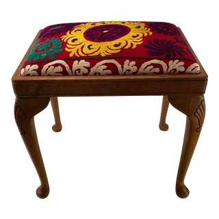 20th Century Persian Uzbek Suzani Stool Bench